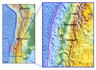 Chile M9.5 Earthquake Map