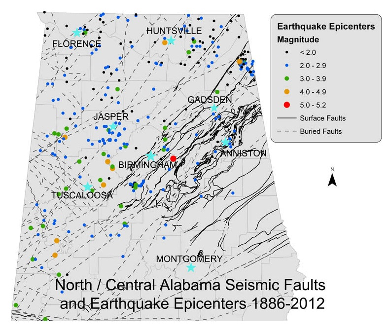 North Alabama Faults 1886-2012