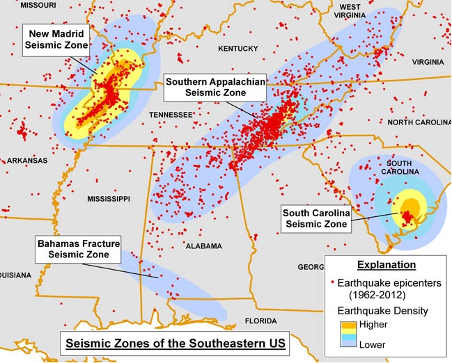 SE_USA Seismic Zones
